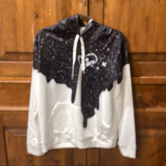 NEW Men's L Milk Galaxy Stars Hoodie Sweatshirt